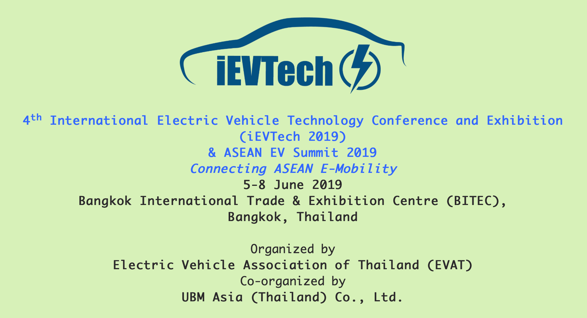 ขอเชิญเข้าร่วมงาน iEVTech 2019 & ASEAN EV Summit 2019