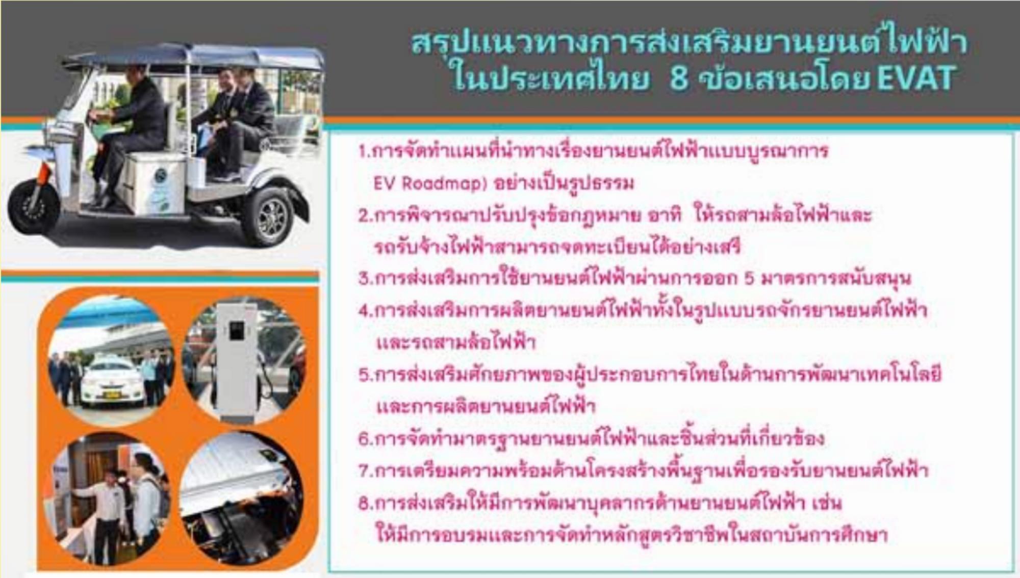 EVAT เสนอ 8 แนวทางให้รัฐส่งเสริมอีวีผลักดันไทยสู่สังคมยานยนต์ไร้มลพิษ