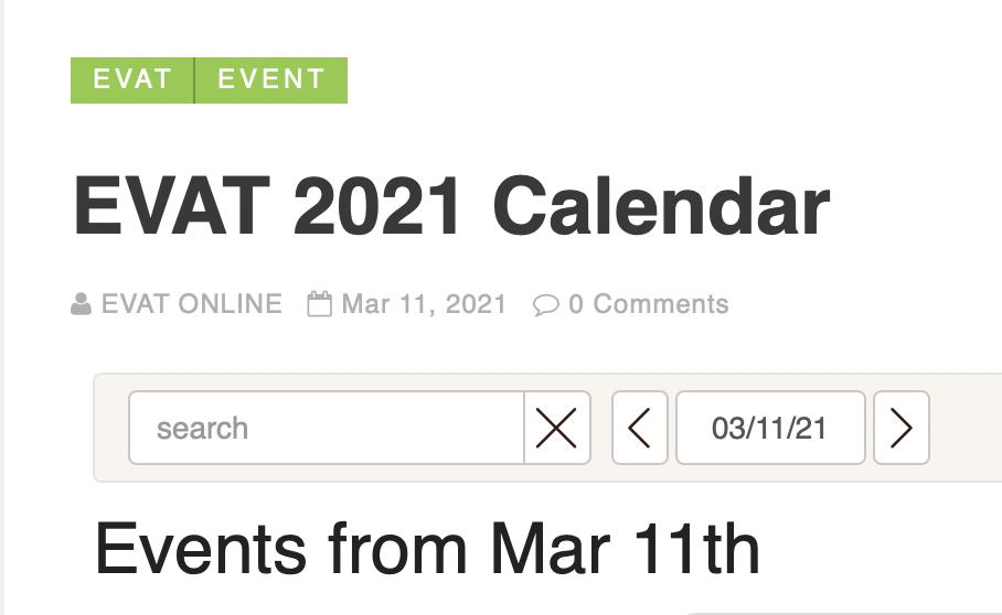 EVAT 2021 Calendar